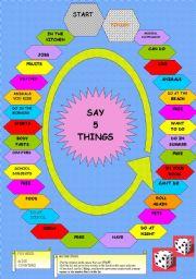 English Worksheets: SAY 5 THINGS