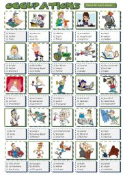 English Worksheet: Occupations - multiple choice 2 (B&W included)
