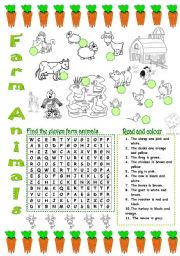 English Worksheets: FARM ANIMALS (2/3)