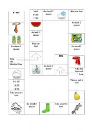 English Worksheet: Board game - revision of clothes, weather and fruit