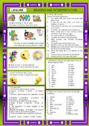 English Worksheets: LEISURE + KEY ANSWER
