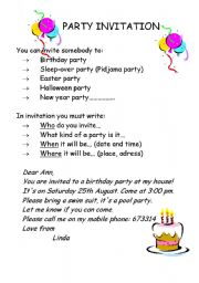 Esl Worksheets For Beginners Party Invitation