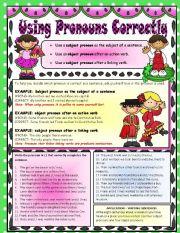 English Worksheet: Subject and Object Pronouns - Using them Correctly