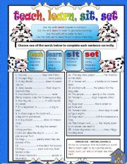 English Worksheet: Troublesome Verbs PART 1  - Teach, Learn, Sit, Set