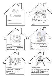 English Worksheet: ROOMS IN THE HOUSE MINI-BOOK