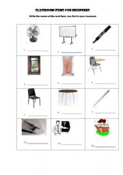 Items found in a classroom classroom items worksheet to name items