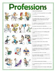 English Worksheet: Professions