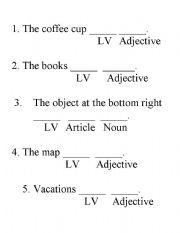 English Worksheets Linking Verb Sentence Patterns