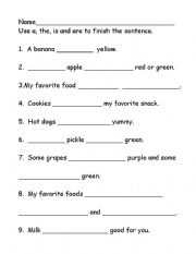 English worksheets: The/A/Are/Is finish the sentence