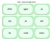 English Worksheets: Dolch Grade One Cards