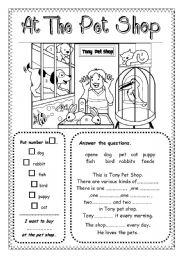English Worksheet: At The Pet Shop