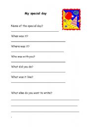English Worksheets: Writing about your special day