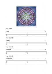 Who wants to be a millionaire? Blank questionnaire