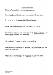 English Worksheets: Madame Tussaud�s Treasure Hunt