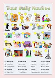 English Worksheets: Daily routine Vocabulary Pratice