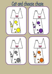 English Worksheets: cat and cheese chase game (9 pages)