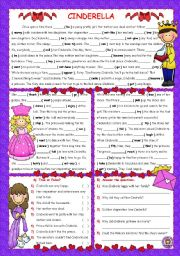 English Worksheets: PAST SIMPLE THROUGH READING --CINDERELLA--
