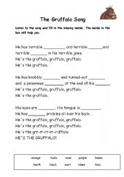 English Worksheet: Gruffalo Song