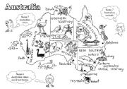 English Worksheet: Australia - a black-and-white map for young learners (editable)