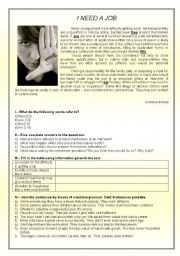 English Worksheet: text - �I need a job� + comprehension + defining and non def. relative clauses