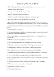 English Worksheet: Questionnaire Bowling for Columbine