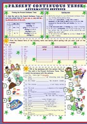 Present Continuous Tense * Affirmative sentence * 3 pages * 8 tasks * with key ***fully editable***