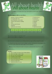 English Worksheet: All about health: symptoms and advice