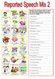 English Worksheet: 11 REPORTED SPEECH MIX 2