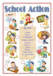 English Worksheets: School Action