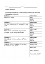 English Worksheets: Finding Keywords