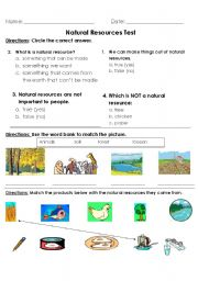 English worksheets: Natural Resource Test