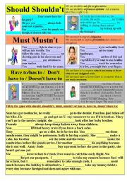 English Worksheet: Should Shouldn´t  - Must Mustn´t - Have to - Don´t have to
