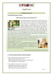 English Worksheet: Music and Teenagers: Reading Comprehension Test