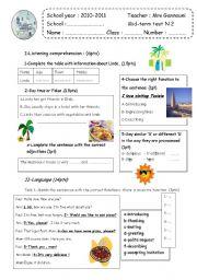 English Worksheet: Mid-term 2   7th form  test