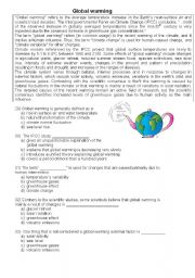 English Worksheet: Global Warming, pollution, the environment, multiple choice.