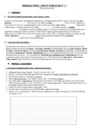 English Worksheets: Remedial work  3rd   year students