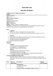 English worksheet: lesson plan(natural approach)