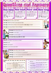 English Worksheets: Questions and Answers � how many � how much � how old � how long � explanation, examples and exercises � editable