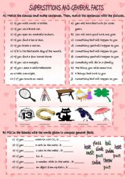 English Worksheet: SUPERSTITIONS AND GENERAL FACTS