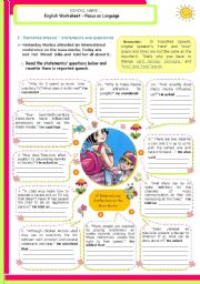 English Worksheet: Reported Speech  -  Statements and Questions