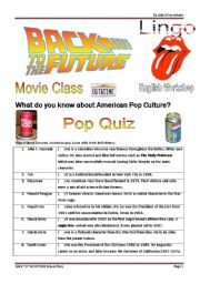 English Worksheet: Back to the Future Quiz, Movie and Song Activity - 4 pages