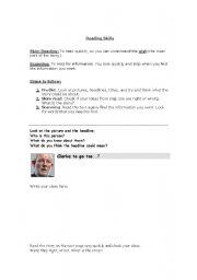 English Worksheets: Reading Skills-Skimming and Scanning-Newspaper Article