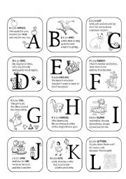 alphabet - rhymes - A-L