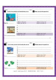 English Worksheets: Writing skills. Stating facts about active animals. Talking about ability.