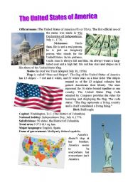 Vocabulary worksheets > Countries and nationalities > America > The