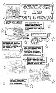 GOLDILOCKS AND THE 3 BEARS/ STORY+ ACTIVITIES/ PART 1/ 2 PAGES