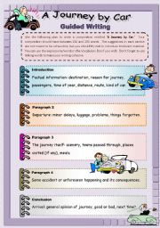 English Worksheets: A Journey by Car - Guided Writing