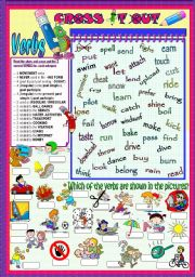 English Worksheets: CROSS IT OUT (VERBS)