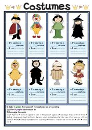 English Worksheets: Costumes (2/2)