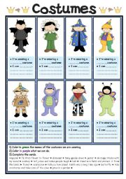 English Worksheets: Costumes (1/2)